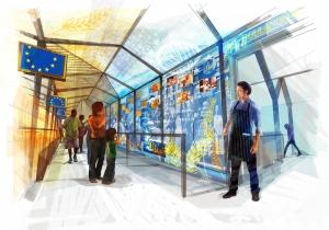 Disegno dell'interno del padiglione Unione europea a Expo 2015 (fonte: www.europa.eu)
